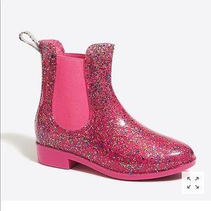 NWT CrewCuts kids glitter rain boots